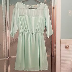 Everly Dresses - Everly Mint Green Dress with sheer details